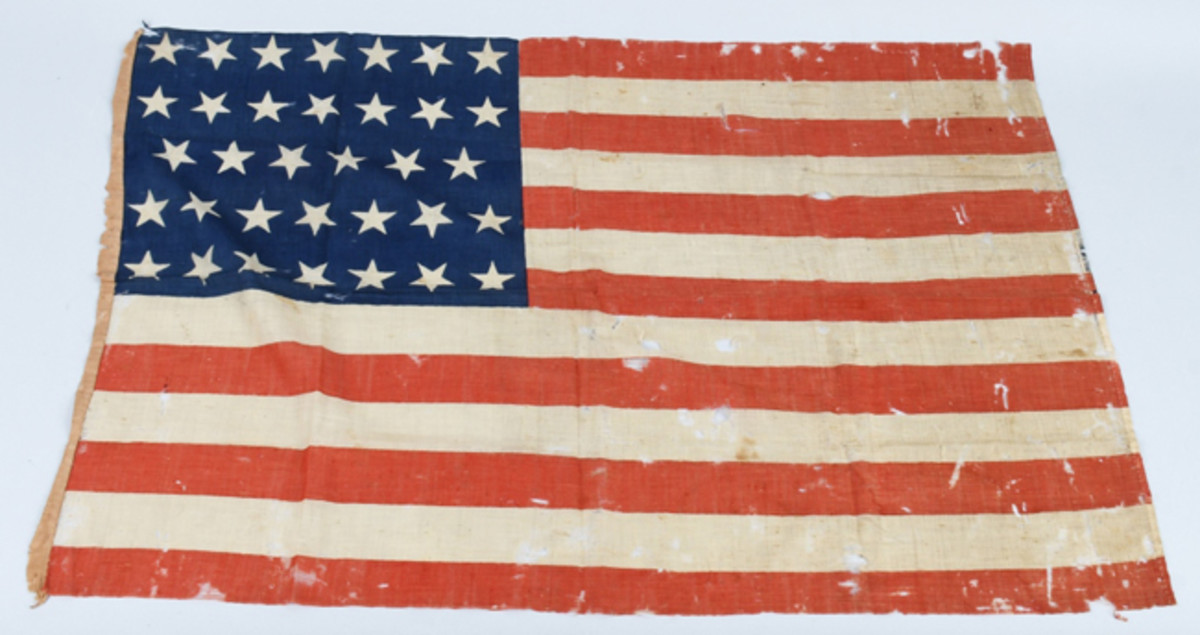 Original cotton Civil War 34-star flag, in service from July 4, 1861 to July 3, 1863; 34th star representing Kansas, measures 34 x 23in. Image courtesy of Milestone Auctions