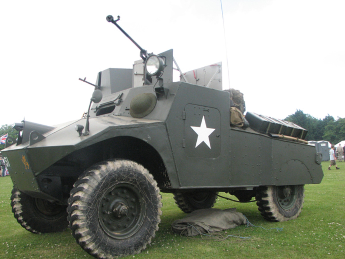 3/4 front view along right hand side of the Morris LRC MkII showing driver's position and detail of Bren Gun turret.