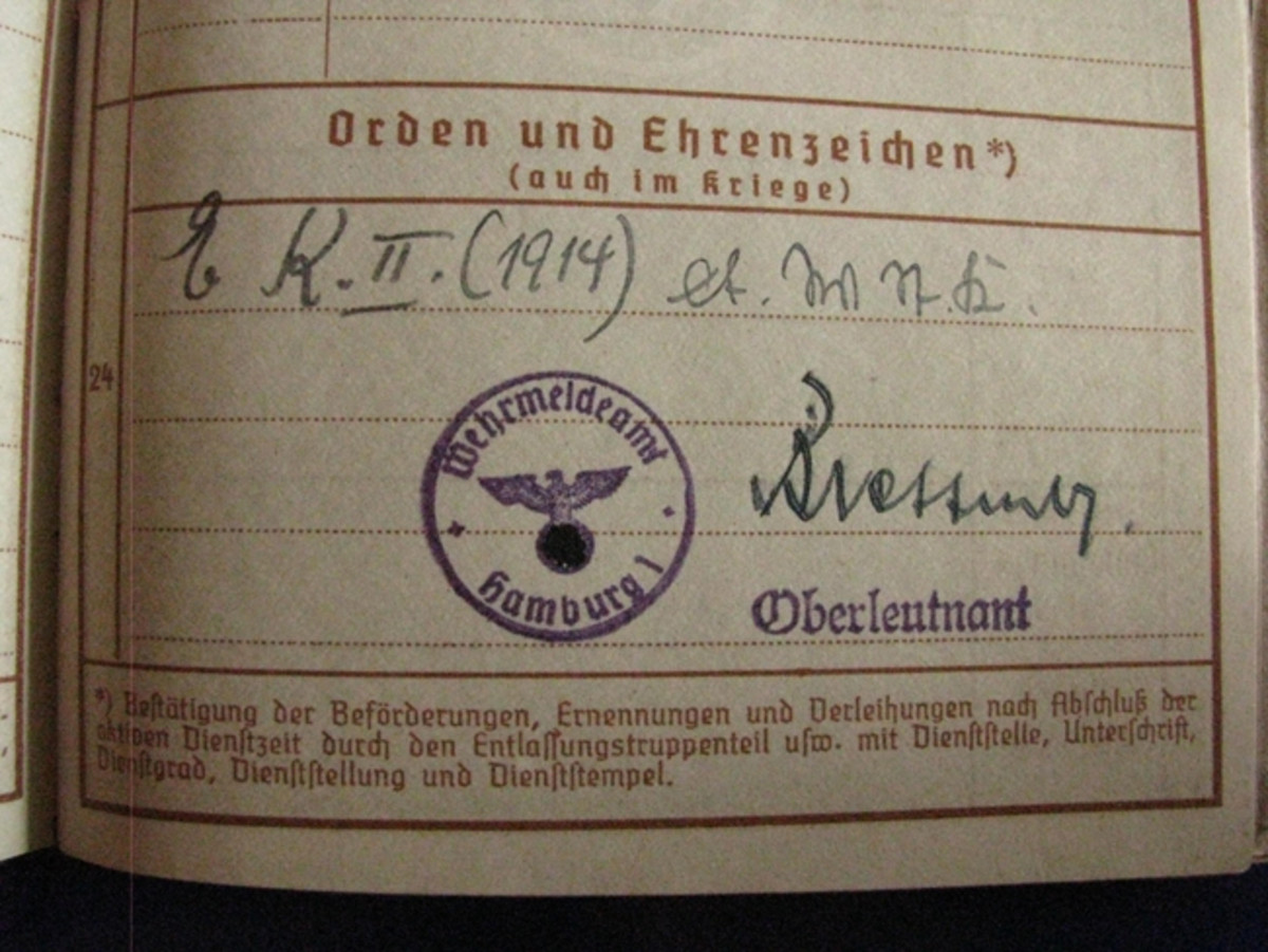 "The pocket of Bottcher's Wehrpass contained documents showing that he was a member of the ""Luftschutz"" (air raid warden)."