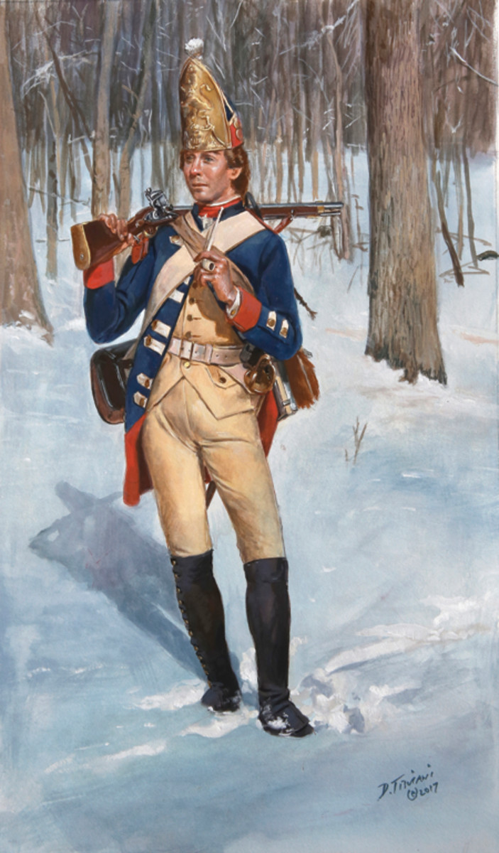 "Most collectors and history buffs with recognize the name, ""Don Troinai."" His painting of historic military personnel — like this one of a grenadier of the von Rall Regiment — are world famous for the deep attention to details."