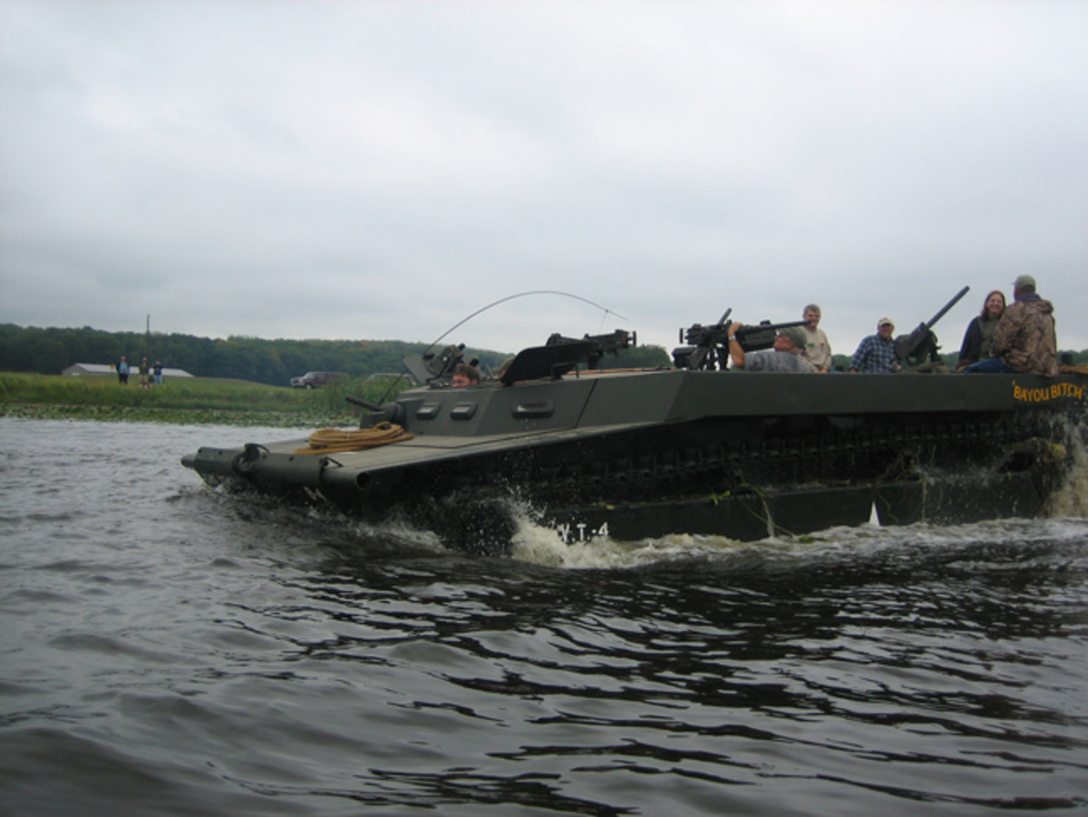 On the heavy end of the amphib spectrum is this operational LVT amphibious tractor, owned by Kevin Kronlund.