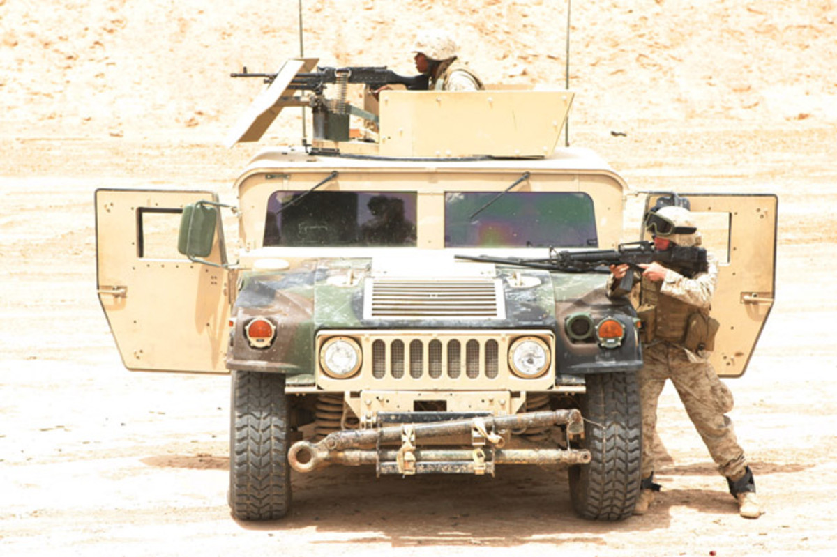 Marines with Truck Company, Headquarters Battalion, 2nd Marine Division, hit targets from their HUMVEE during a live fire and maneuver exercise, May 12, designed specifically to combat the insurgency. USMC