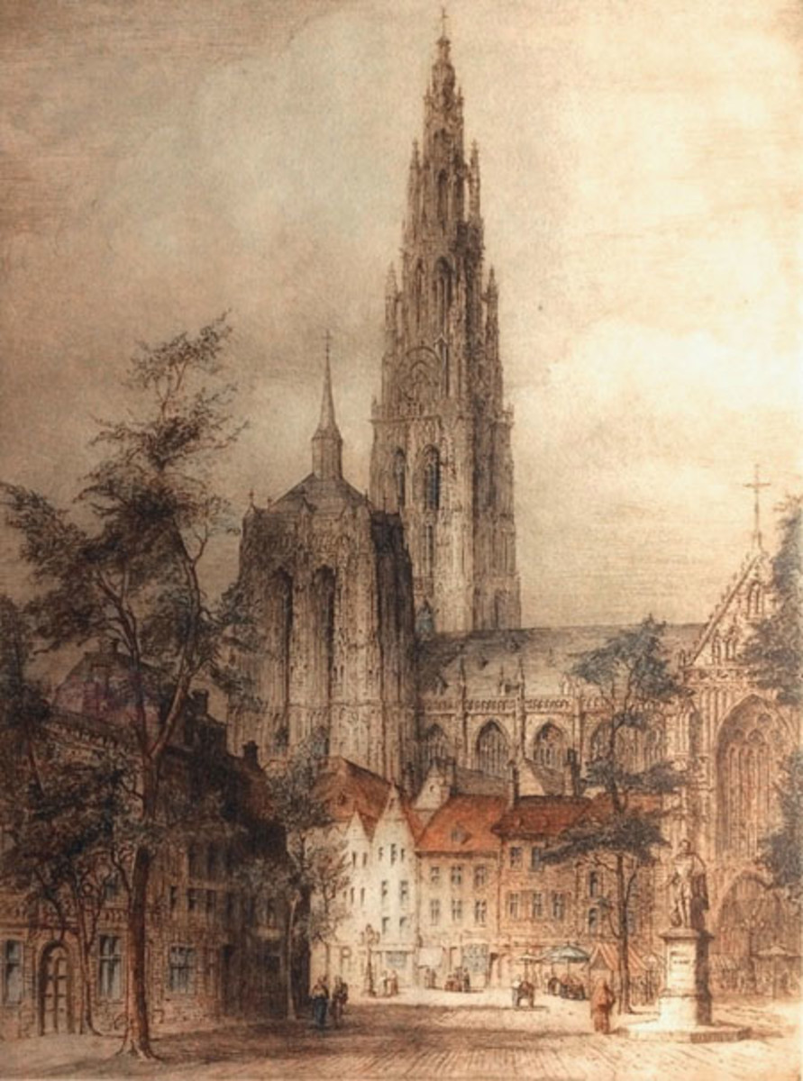 Antwerp – Published in 1917, this etching offers a view of the Antwerp cathedral. The city was attacked in the early months of the war, first with bombs dropped from a Zeppelin airship and then with artillery fire during the Siege of Antwerp.
