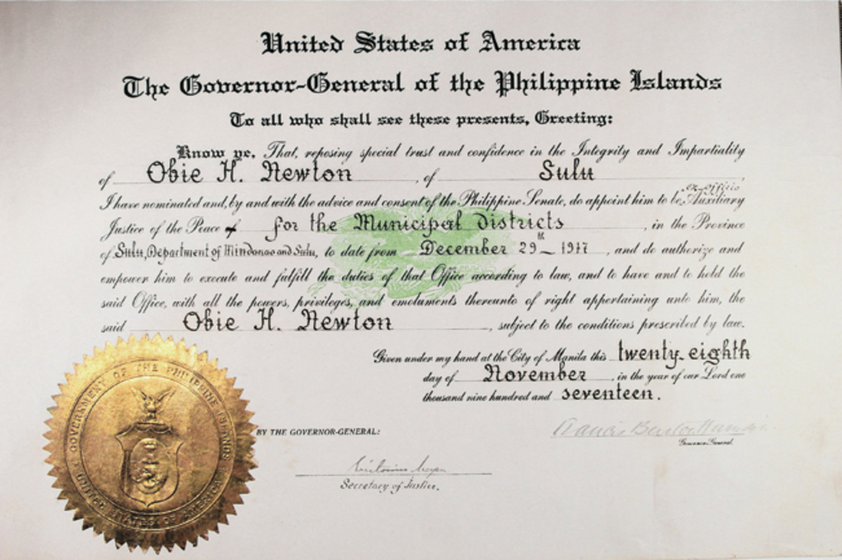 Newton's official 1917 appointment as Justice of the Peace in the province of Sulu.