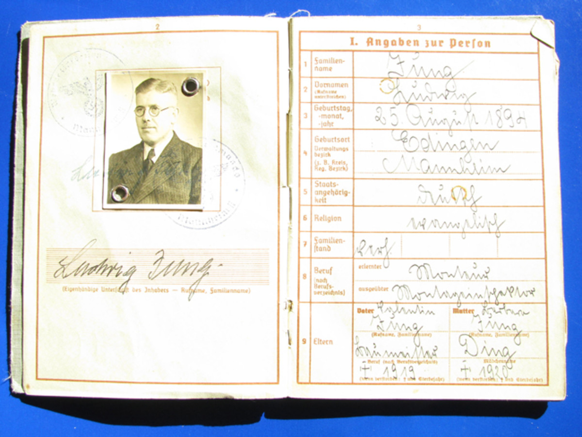 This Wehrpass belonged to Ludwig Tung. The inner pocket of Tung's Wehrpass contains paperwork from the US occupation forces allowing Tung (an electrician) to work on utilities after curfew.