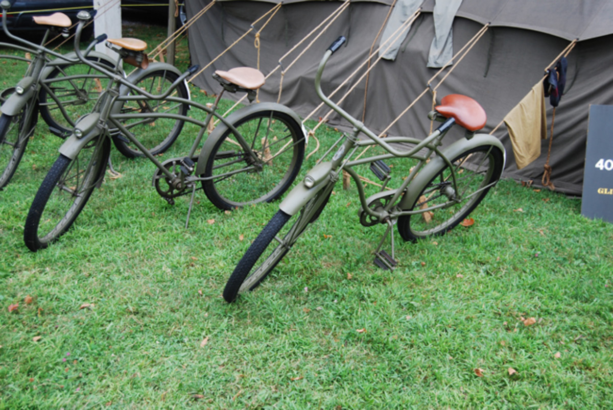 Some nicely restored American bicycles from the Second World War. Pedal power beats walking!