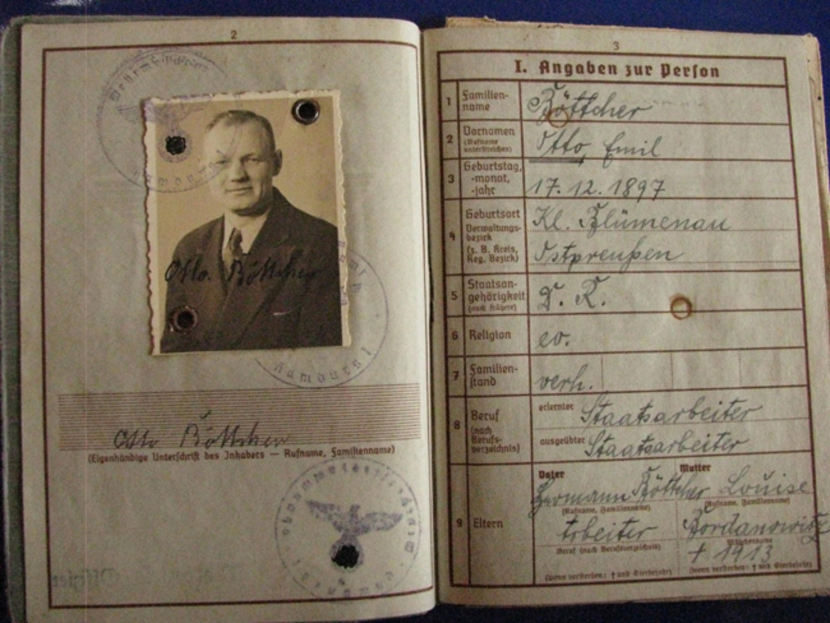 Otto Bottcher served as a Grenadier in WWI, receiving the Iron Cross, Second Class (EKII). Throughout the booklet Bottcher de-nazified the pages by inking over the swastikas.