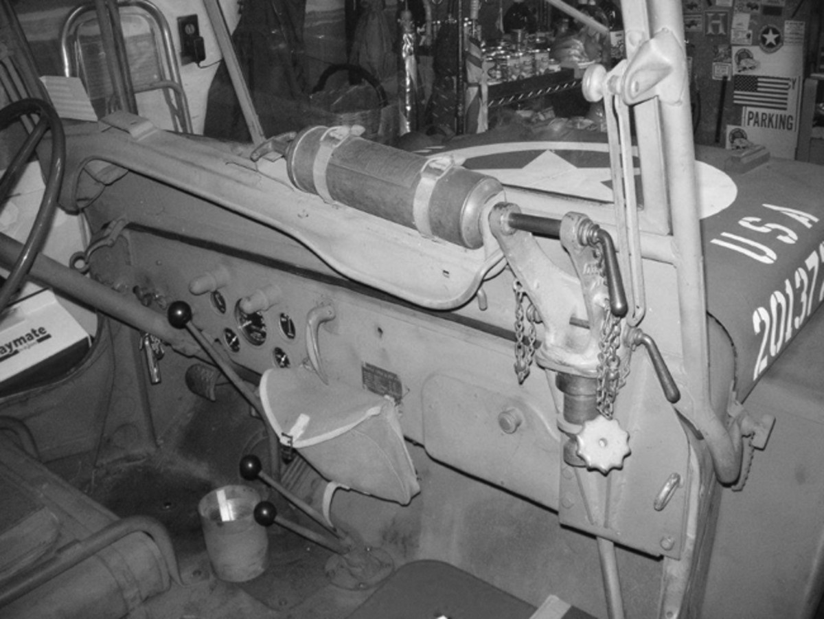 The M48 Jeep machine gun dashboard mount as installed on the 1943 GPW Jeep.
