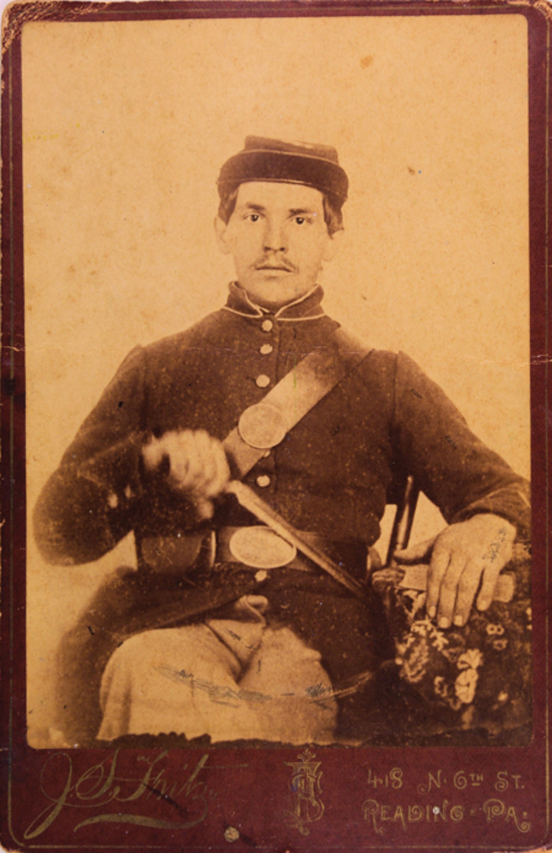 Fredrick Albright in his Civil War uniform taken in 1863, at Reading, Pennsylvania. He had served with the 176th Pennsylvania Drafted Militia from 1862 -1863.