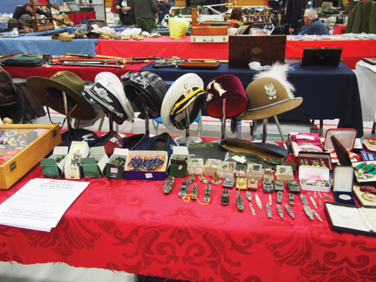 It isn't just Canadian items north of the border. This table shows some diverse headgear from around the world.