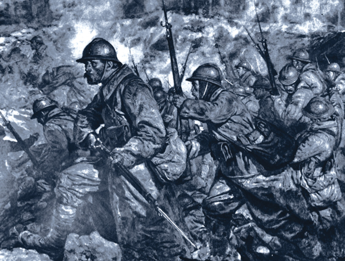 "Drawing by J. Simont titled, ""Fighting in a crater during the Battle of Verdun, France."""