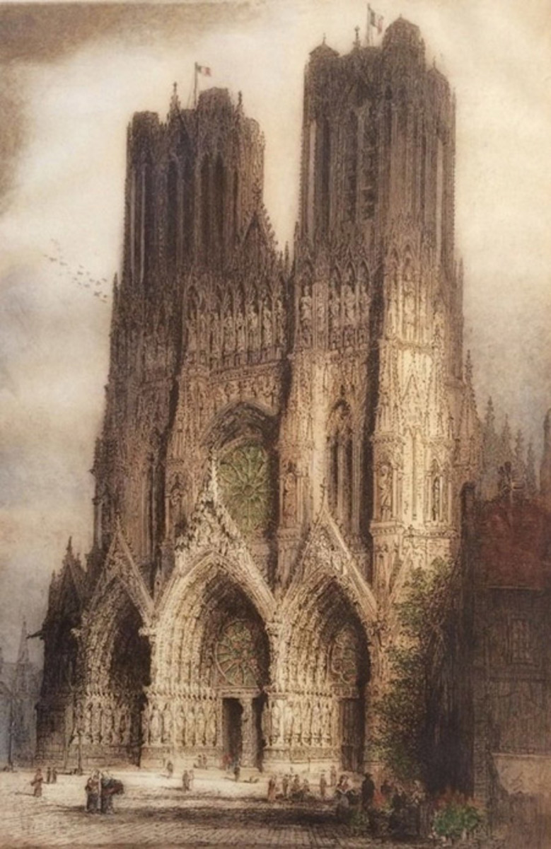 Rheims Cathedral – At the beginning of the war, Brewer completed his first etchings of the Cathedral of Notre-Dame in Rheims, the iconic site of the coronation of Charles VII in 1429 after Joan of Arc's victories over the English.