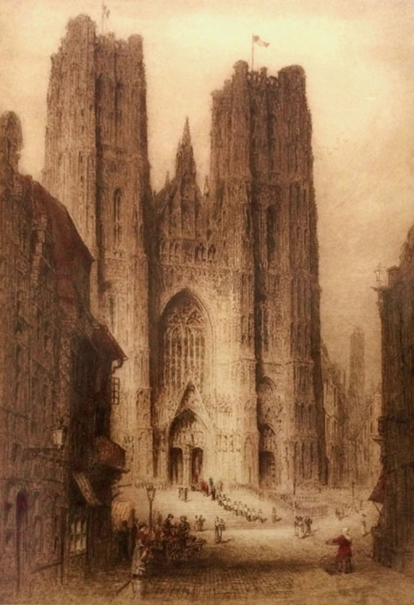 Cathedral of St. Gudule in Brussels – Published in January 1914, this etching stands out as an artistic premonition that foreign troops would soon march in the streets of Brussels, which occurred when Germany invaded Belgium in 1914.