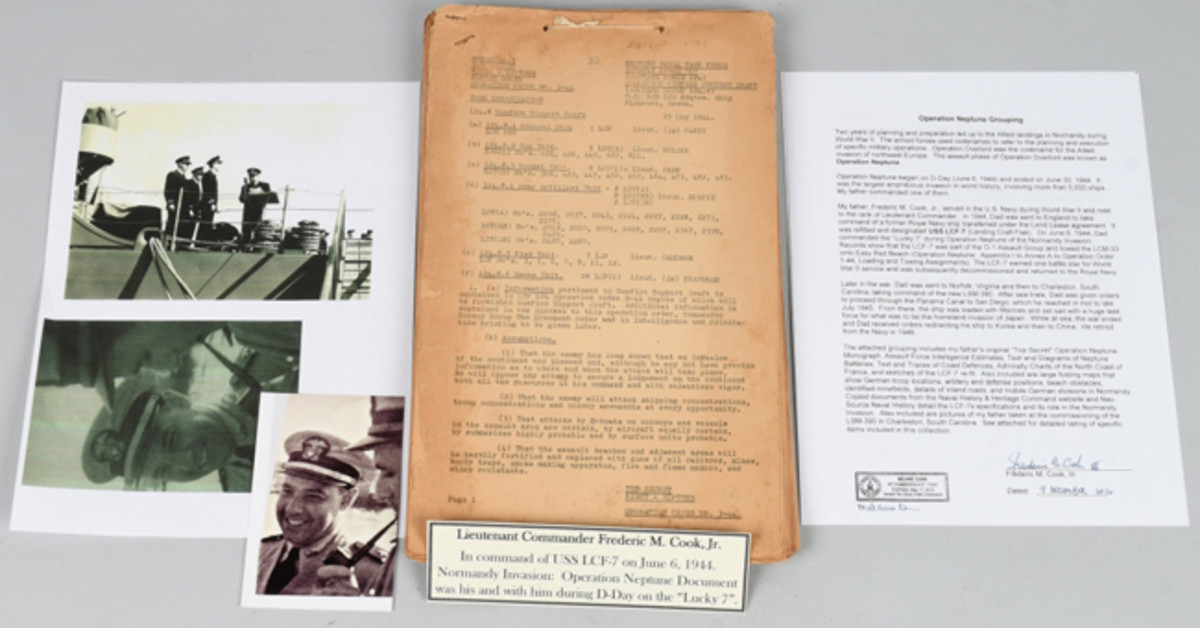 World War II D-Day (June 6, 1944) Operation Neptune grouping ID'd as BIGOT-classified (ultra top secret), property of Commander Frederick M. Cook USN of LCF-7 Landing Craft Flak. Image courtesy of Milestone Auctions