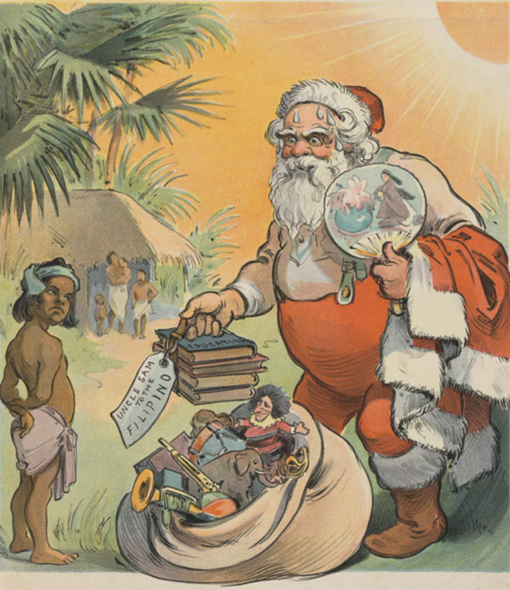 "This illustration of Santa passing out education and US humanitarian aid to the Philippines was published in a 1902 issue of Puck. While the size of Santa in comparison to the natives may imply racial insensitivities by today's standard, the jolly — but sweating master elf exclaims, ""Phew, I'm glad to oblige Uncle Sam, of course. But next time I come, I'll wear khaki!"" Library of Congress"