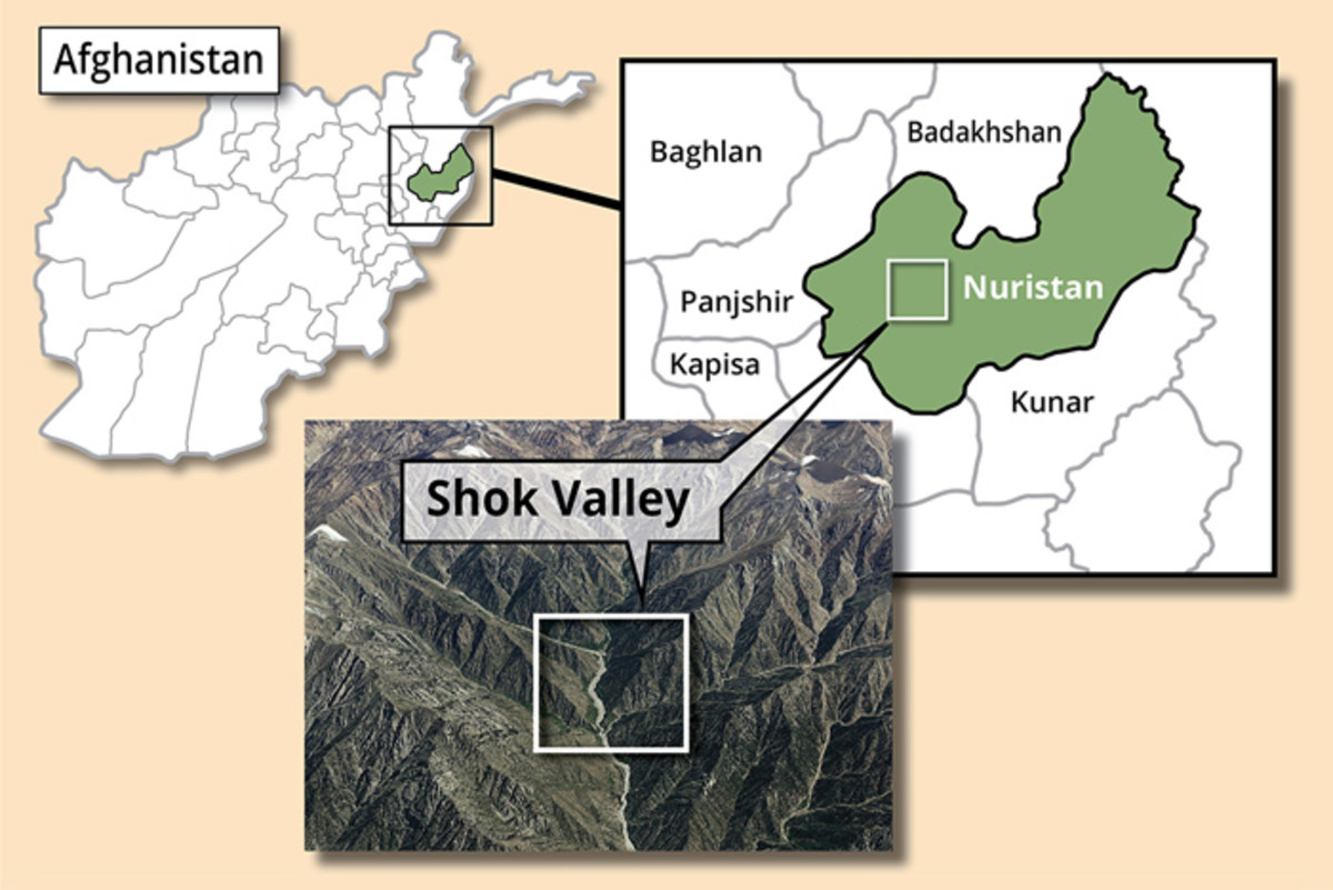 This map pinpoints the Operation Commando Wrath insertion point in Shok Valley, April 6, 2008. The operation was a mission to capture or kill high-value targets in Afghanistan's Shok Valley.
