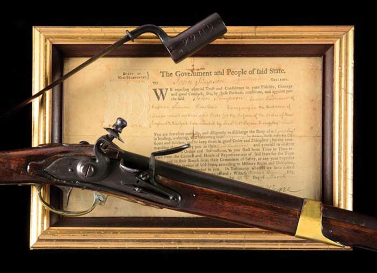 Historically significant, fully documented Dutch .79 smoothbore Type III flintlock musket and bayonet of Private John Simpson, who fired the first shot at the Battle of Bunker Hill, June 17, 1775. Accompanied by Simpson's New Hampshire commission to second lieutenant, plus several copies of a 50-page book scrupulously detailing the history of the musket, Simpson family, Battle of Bunker Hill, and Simpson's court martial. Unbroken line of family provenance since 1775. Sold for $492,000 against a pre-sale estimate of $100,000-$300,000