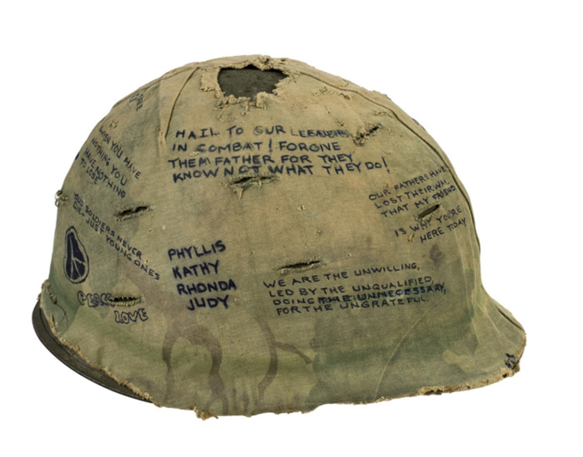 Helmet cover from Hamburger Hill. Courtesy of Salvador L. Gonzalez, 101st Airborne Division, 3rd Brigade, 1/506th Light Infantry, D Company, 1969.