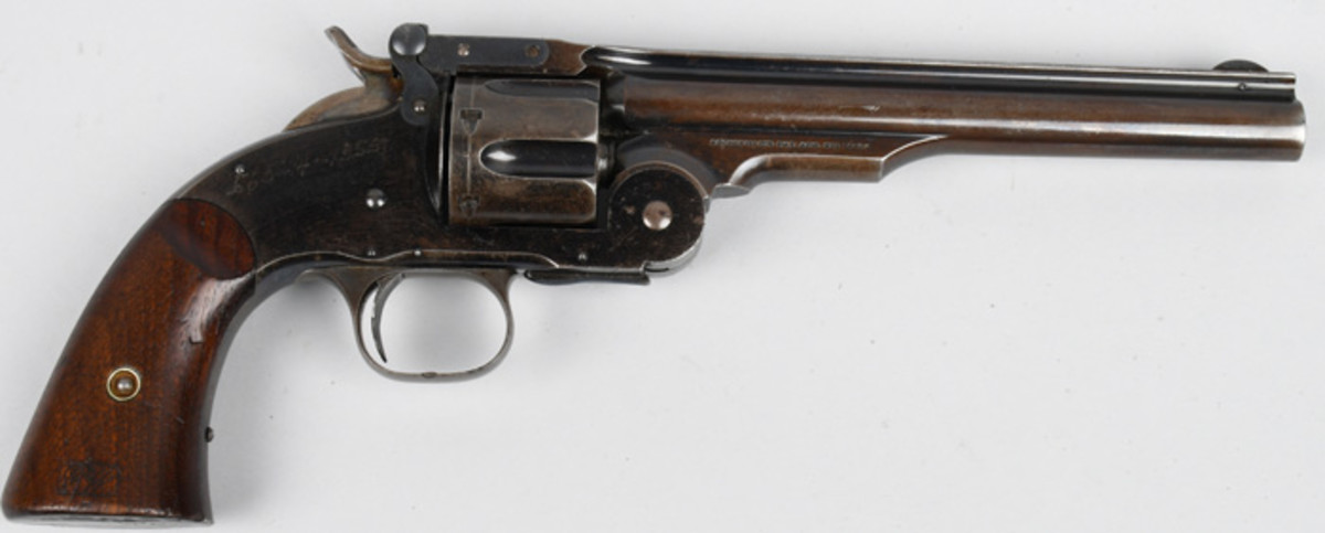 High-condition Smith & Wesson 2nd Model Schofield .45-caliber revolver, US-issued Indian Wars era, 1877. Sold for $5,760