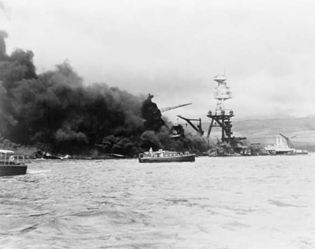 USS Arizona, at height of fire, following Japanese aerial attack on Pearl Harbor, Hawaii. Prints and Photographs Division, Library of Congress. Reproduction Number LC-USZ62-104778