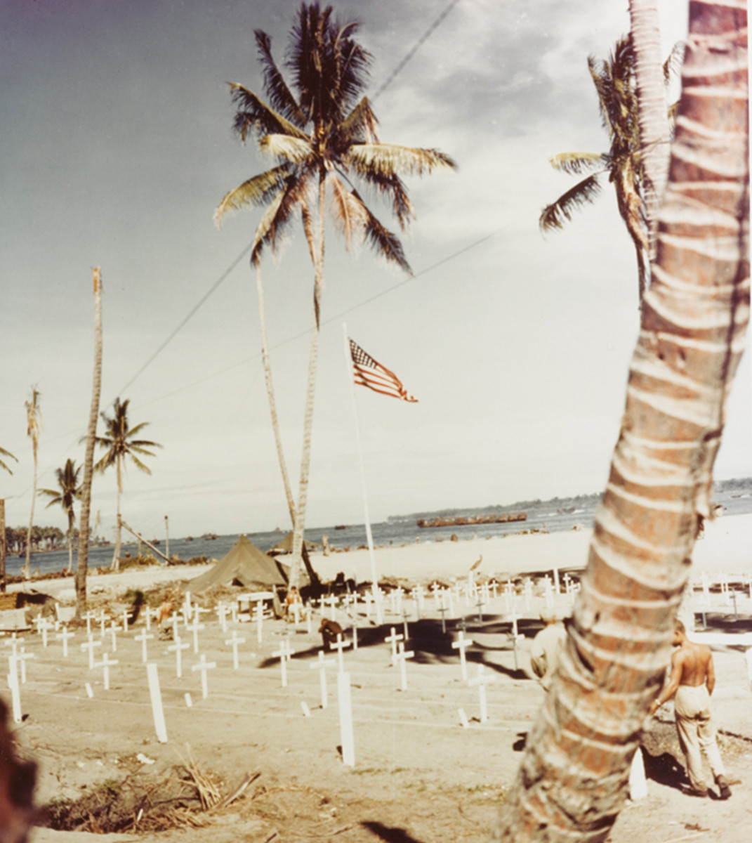 Marine Corps cemetery at Cape Torokina, Bougainville, December 25, 1943.