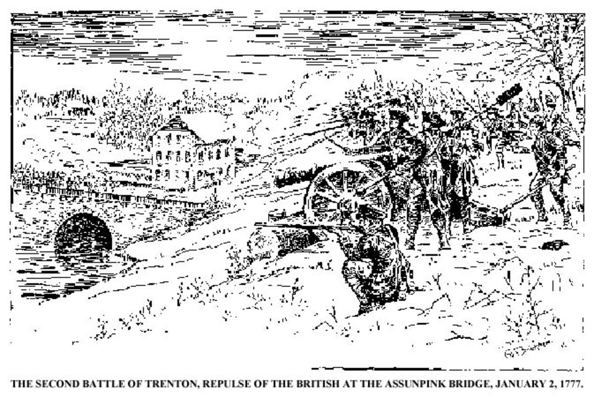 19th century depiction of the defense of the bridge over Assunpink Creek.