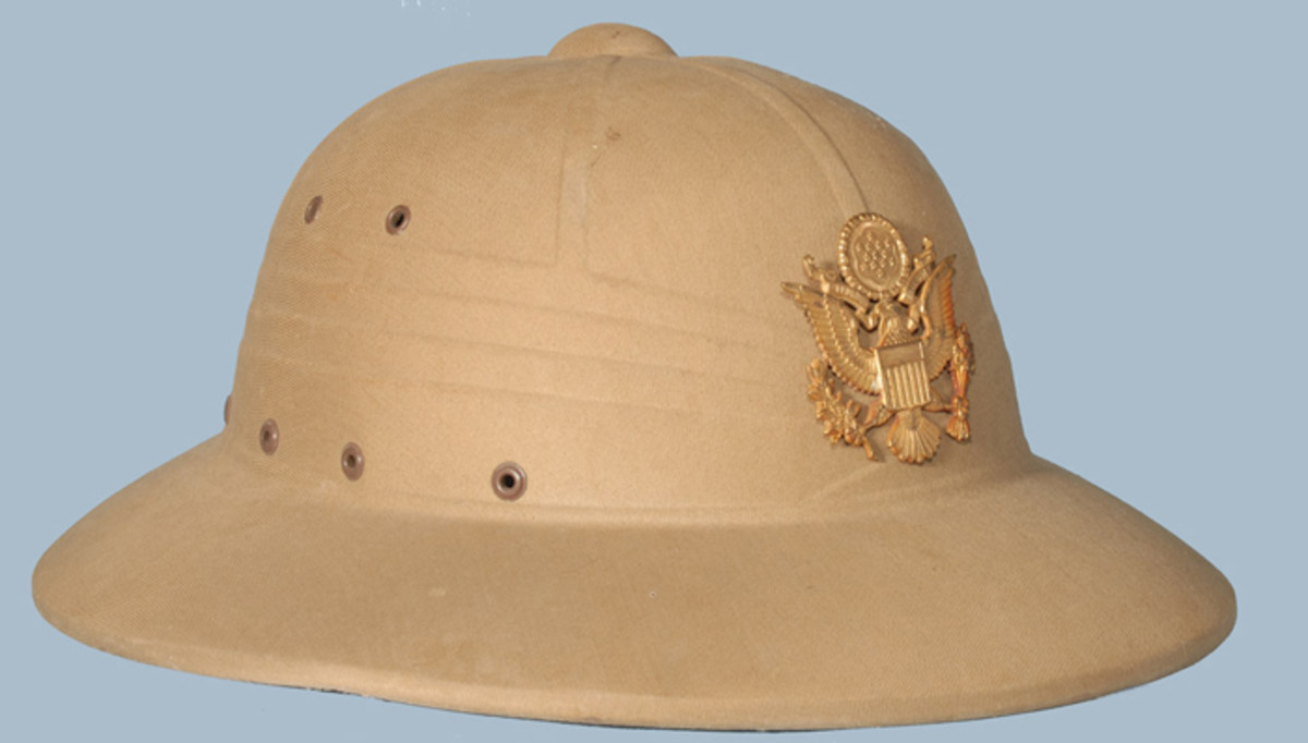 A classic example of a late-war or post-war American Army used pressed fiber sun helmet.