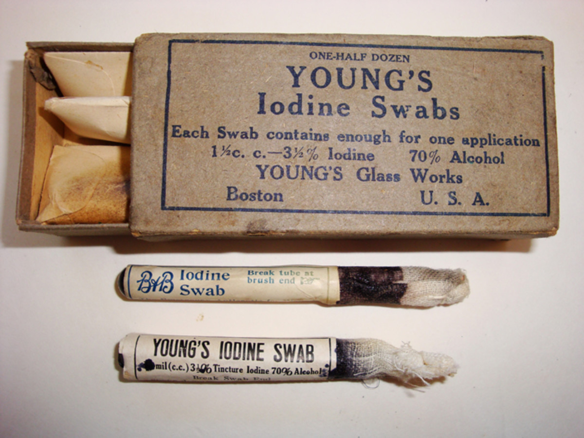 The second pocket held two boxes of six each Iodine swabs for wounds. Shown is both issue of swabs and a Young's issue box.