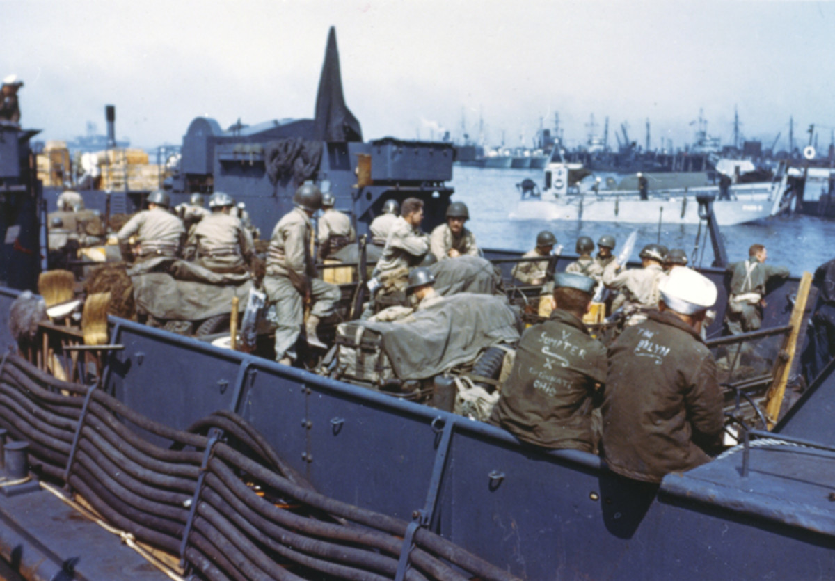 View of an LCT with American troops and equipment loaded aboard awaiting the signal for the assault against the continent.