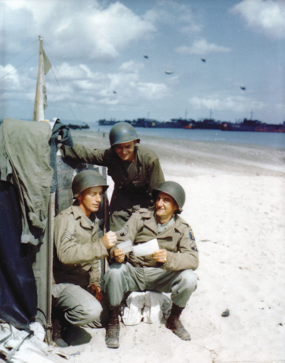This rare photo was taken on Juno Beach by Ardean Miller and Steve Stevens of the US Signal Corps. They were the only official US photographers in the ETO using color film. Unfortunately, the bulk of their images were lost after the war in a plane crash that killed Stevens.