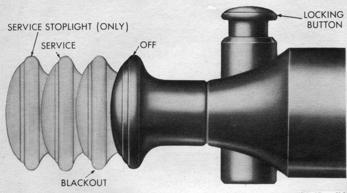 Since it could be lethal if a driver accidentally turned on a vehicle's service headlights at night under combat conditions, the main light switch required that the lockout button be activated before the knob could be pulled out beyond the blackout position. Likewise, it wouldn't do to have a vehicle's service stop lamp come on under combat conditions, so the lockout button also had to be activated to set the switch for the service stoplight function.