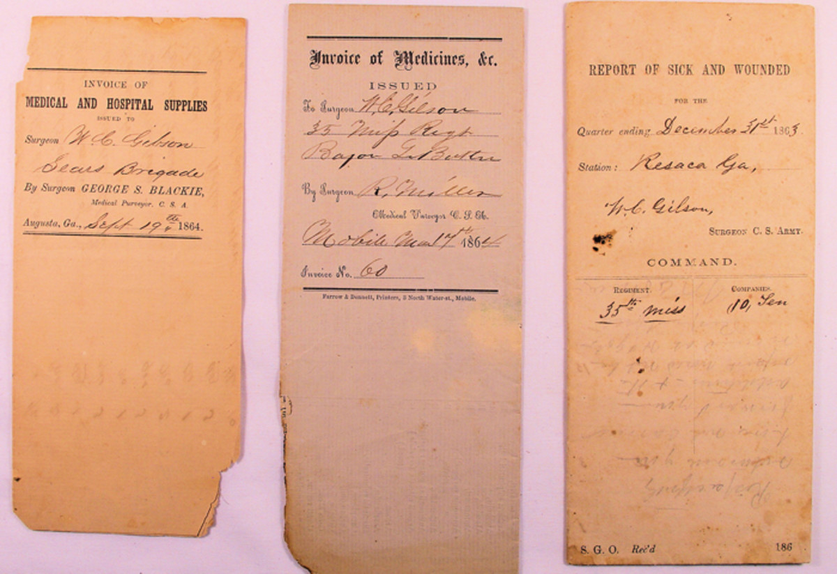 "The three documents that descended through the family with the pistols were Confederate medical records including the 1864-dated ""Invoice of Medical and Hospital Supplies"" issued to Surgeon W. C Gilson; an ""Invoice of Medicines"" issued to Dr. Gilson; and an 1863 ""Report of Sick and Wounded"" at Resaca, Georgia, that is signed by Dr. Gilson."