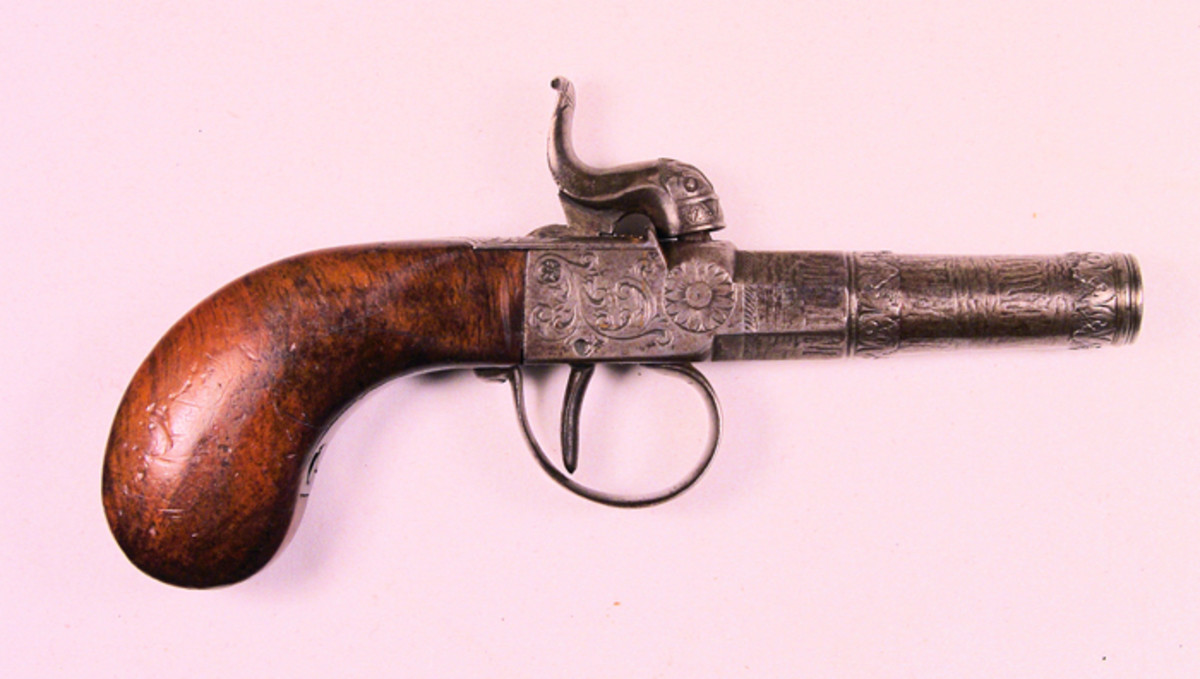 Dr. Gilson carried two pistols during the Civil War, one on his person and the other in his medical bag. This French pistol was one of the two. It measures 6 inches, overall and is about .65-caliber.