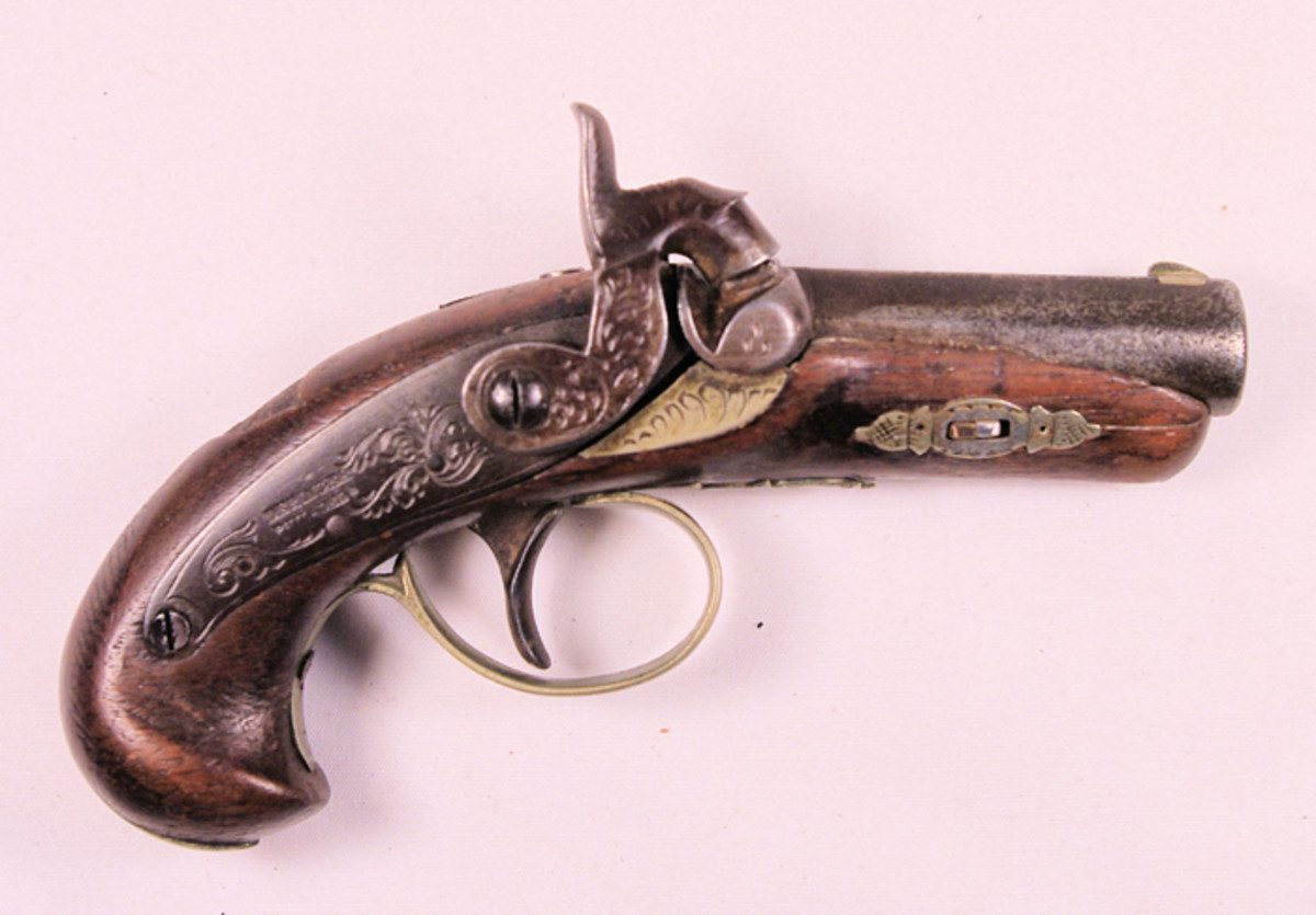 "Gilson's other pistol was this Derringer-style pistol. Measuring about 5-1/4"" it fires a single .41-caliber ball."