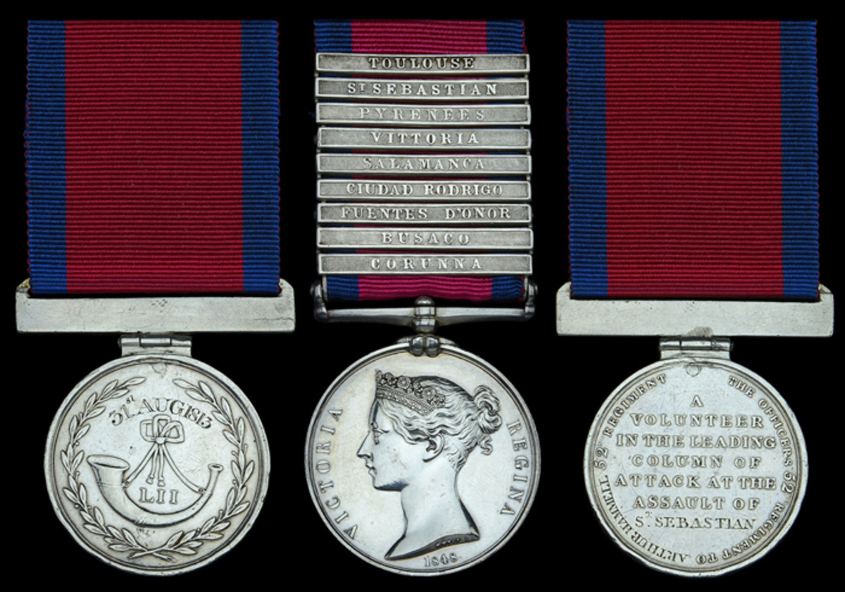 The extremely rare Military General Service and 'St Sebastian' Forlorn Hope Medal pair awarded to Private Arthur Hammell, 52nd Foot, who was slightly wounded in the left leg at Corunna in January 1809, and 'Volunteered to lead the attack at the Storming of St. Sebastian' sold for £27,280 against an estimate of £8,000-10,000.