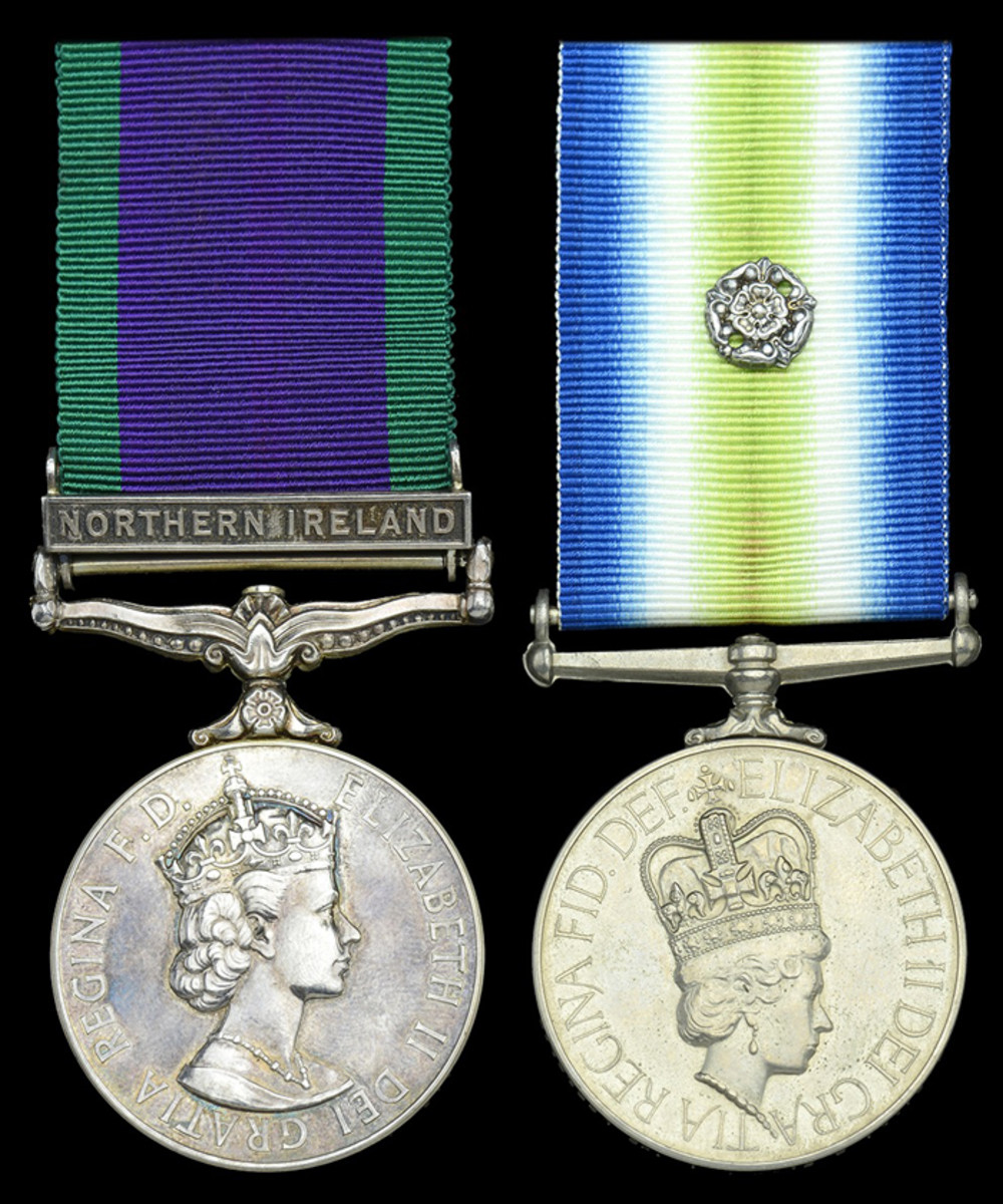 'Operation Nimrod' campaign pair awarded to Staff Sergeant I. N. Pape, B Squadron, Special Air Service, who participated in the hostage rescue force during the Iranian Embassy Siege on 5 May 1980, sold for £19,840.