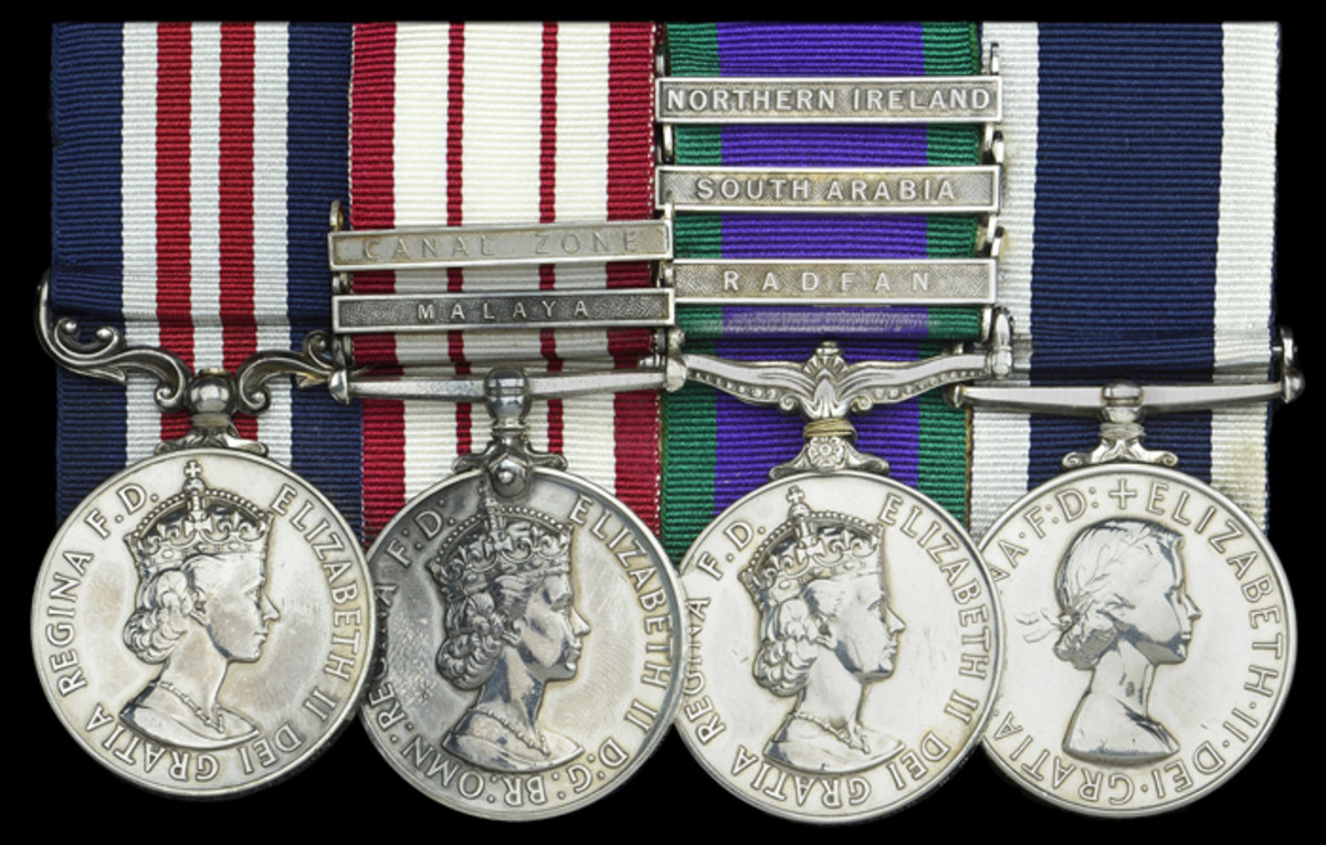 "A 1965 ""Radfan operations"" Military Medal group of four awarded to Color Sergeant W. G. B. Paterson, 45 Commando, Royal Marines, sold for £17,360."