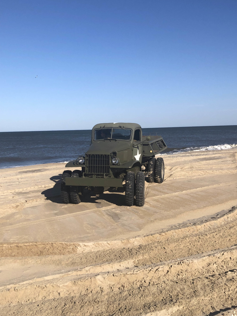 John Gott's 1940 Chevy cargo dump on the beach in Lewes, Delaware