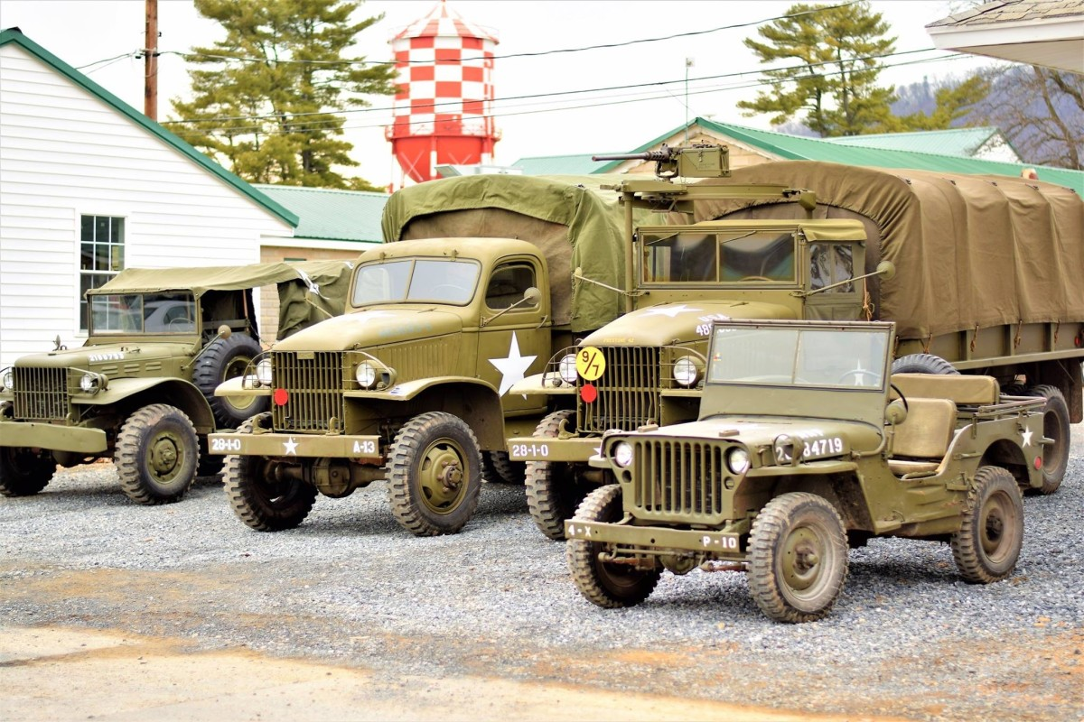Brian Cessna's 1942 CCKW cargo and Paul Rea's 1942 CCKW cargo at the Battle of the Bulge reenactment at Fort Indiantown Gap.