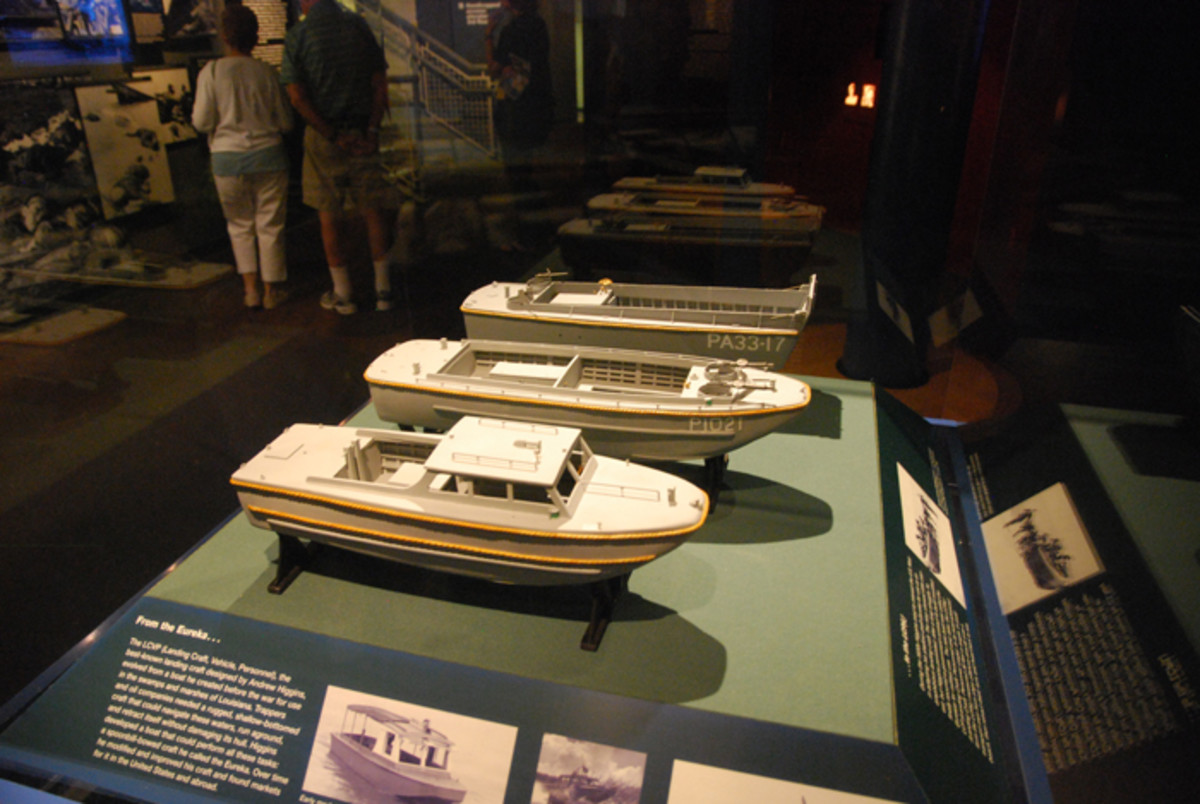A display that highlights the evolution of landing craft for the then-planned Allied invasion of Europe.