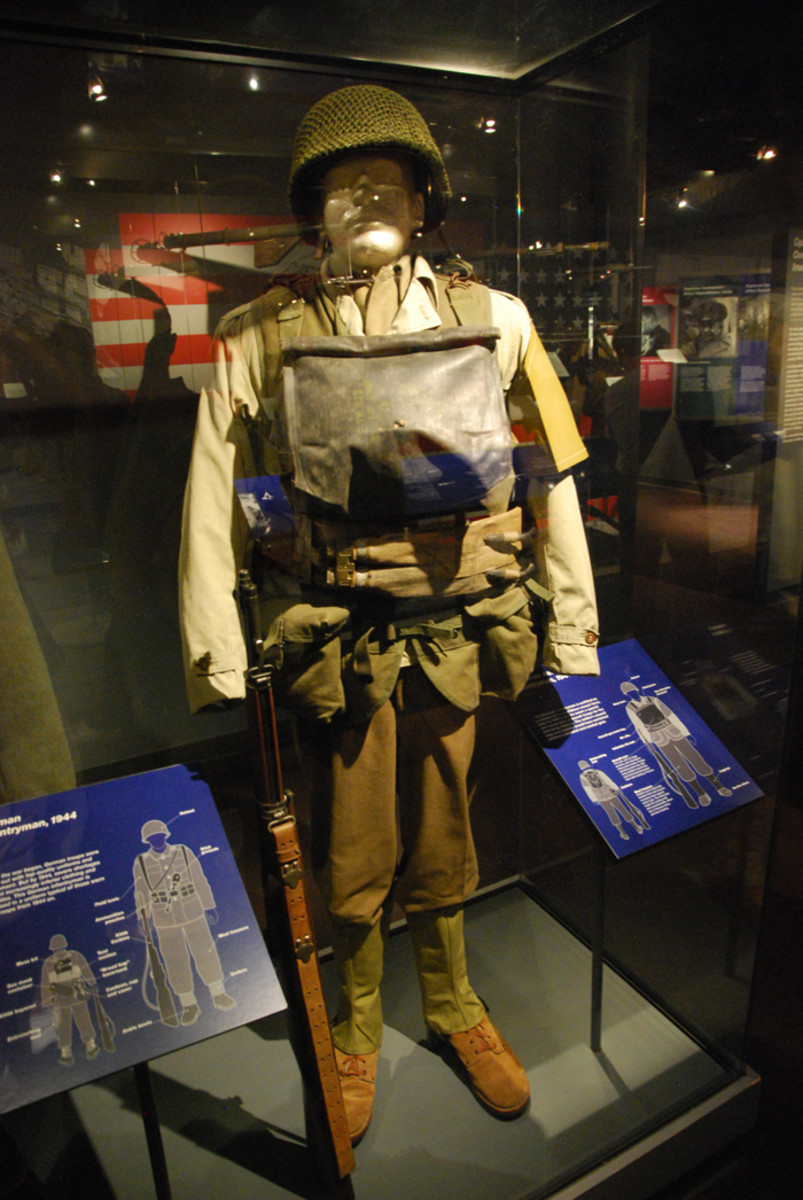 A display that highlights what the average American GI would have carried on June 6, 1944.