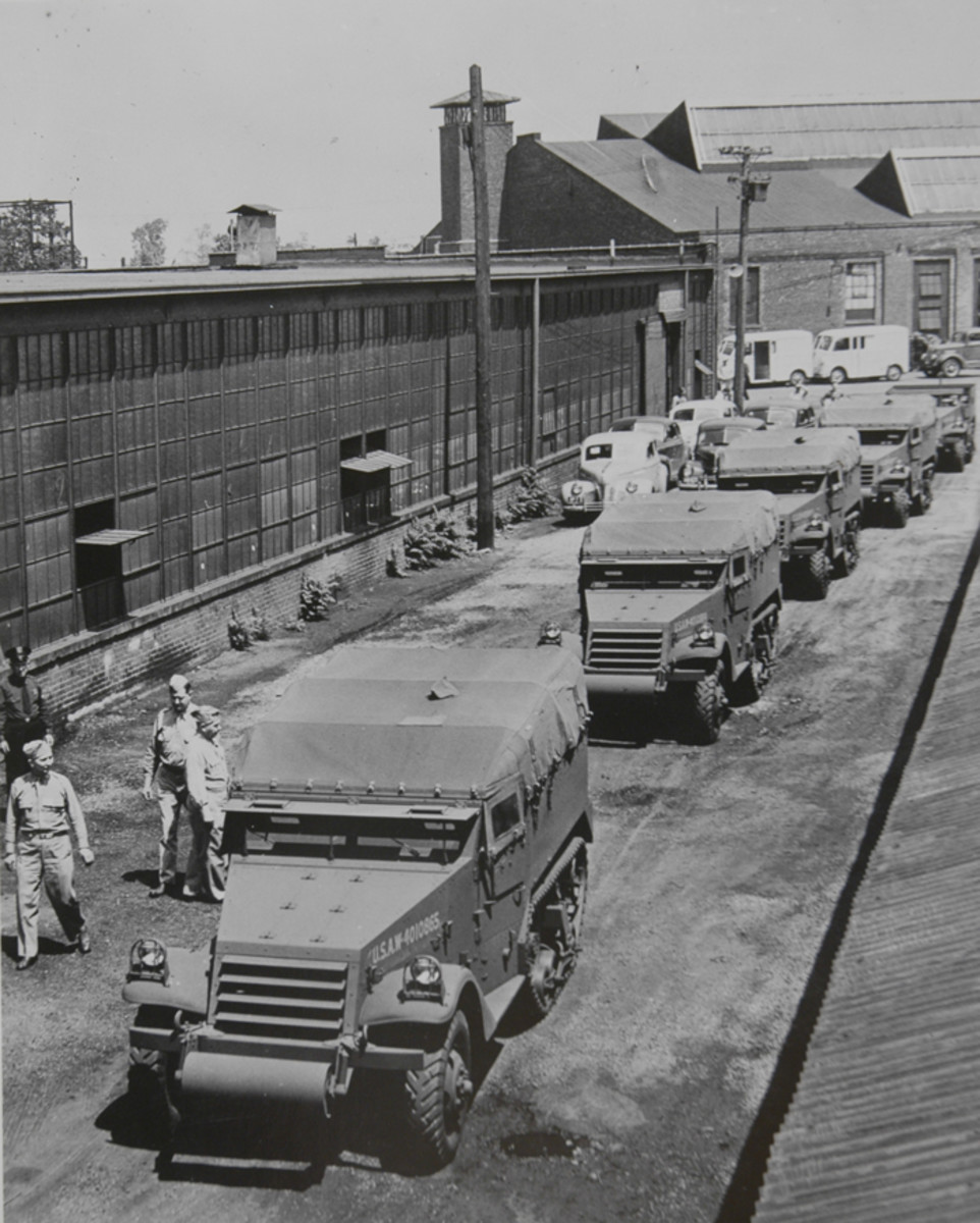 White worked diligently to deliver the M2 halftrack, as well as Scout Cars. This scene at White's Cleveland plant shows the vehicles ready for acceptance.