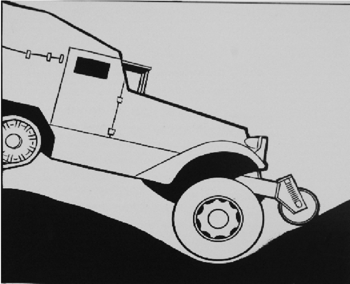 The roller worked to prevent the front bumper from digging in when at too severe of an angle of approach. Its contact would lift the front wheels, as seen in this illustration.