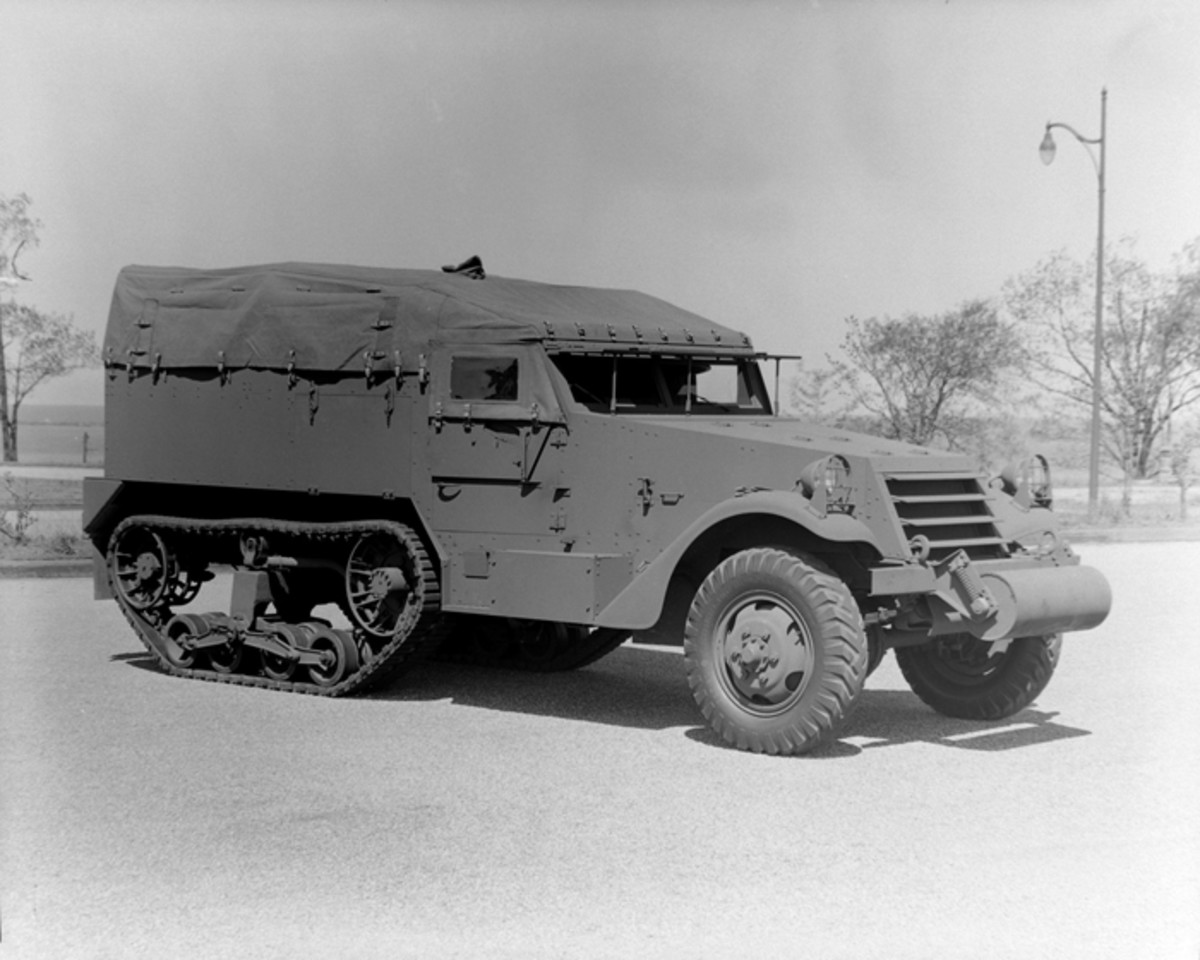 The sister vehicle to the M3 personnel carrier was the M2, which was intended as a prime mover. White began delivering these vehicles in May 1941. Both the M2 and the M3 featured face-hardened armor 1/4-inch thick, except on the 1/2-inch thick plate over the windshield.