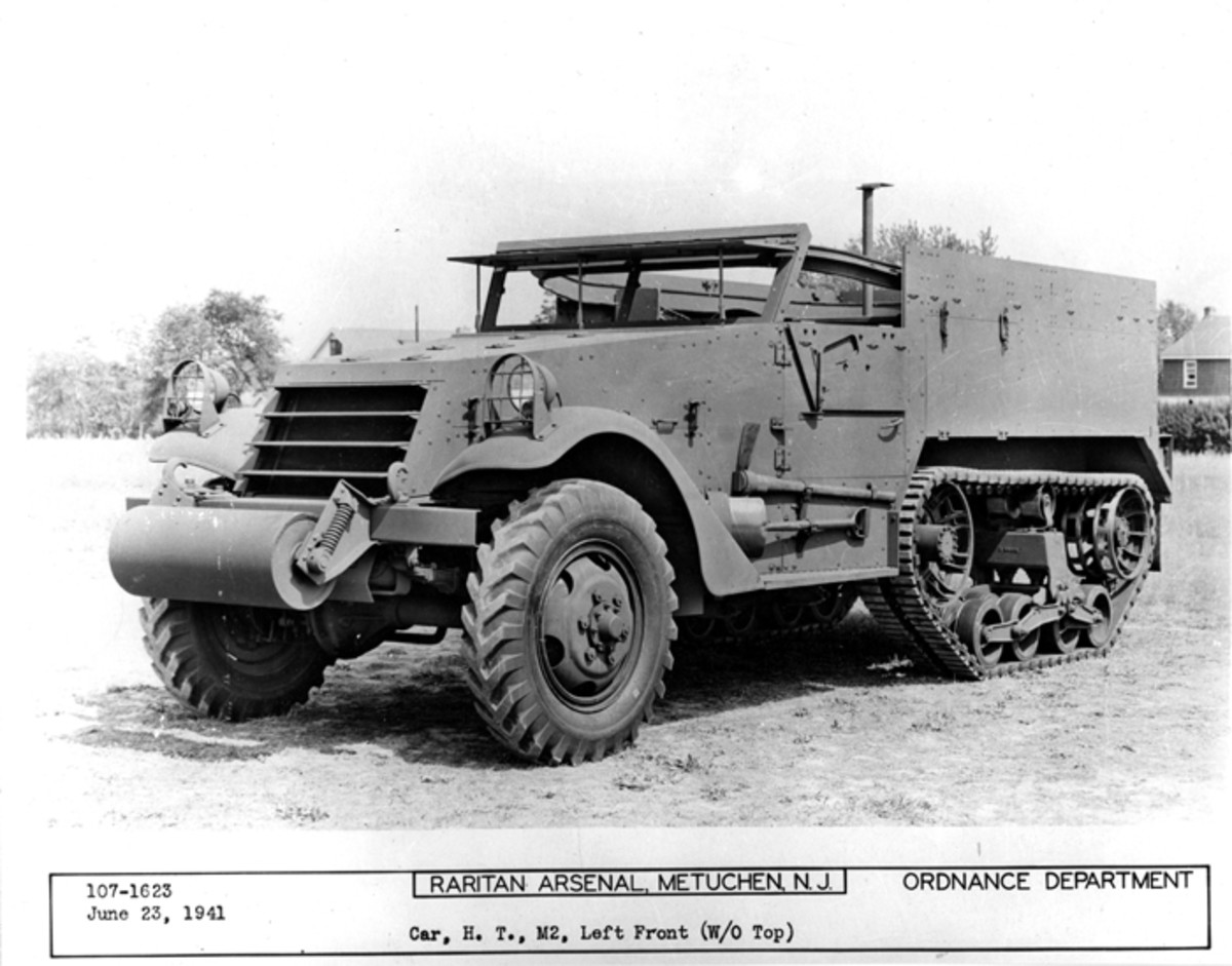 This M2, photographed in June 1941, has chevron tread pattern tires with bullet-resisting self-sealing inner tubes.