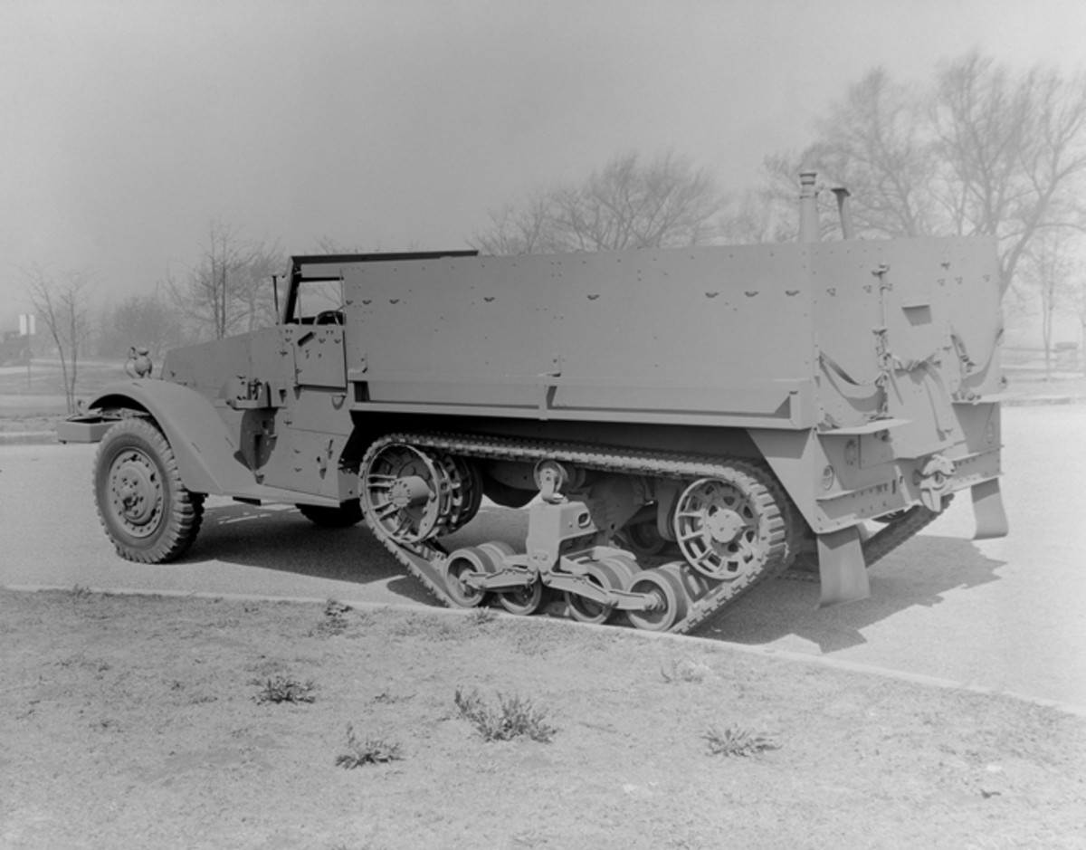 During the course of WWII a wide range of half-track vehicles were produced by White, Diamond T, Autocar and International Harvester. Vehicles built by International were of a slightly different design than the others, and were primarily used for export purposes. This is a White-built M3 Personnel Carrier.