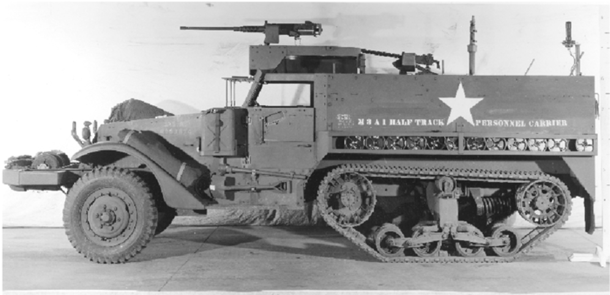 As with the M2, the ring mount and pulpit was also fitted to the M3, yielding the M3A1. A total of 2862 M3A1s were factory built. However, the number of M3A1s was bolstered by the conversion of 1360 75mm Gun Motor Carriages M3 into M3A1 personnel carriers in addition to a number of M3 personnel carriers being converted to M3A1 standards.
