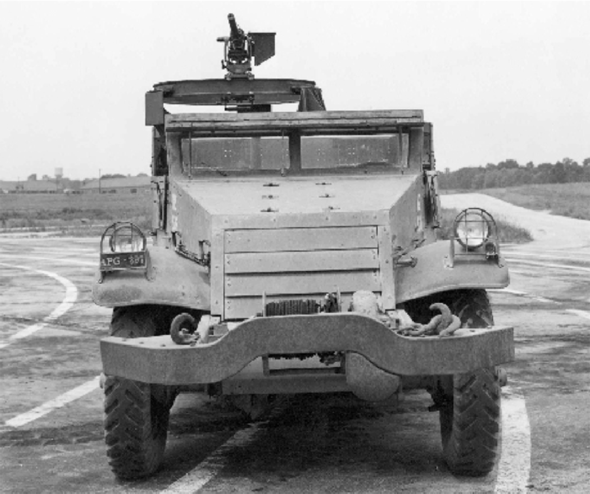 Photographed in August of 1942 was the M2E6 – the vehicle that pioneered the use of a ring mount rather than a skate rail on the M2 vehicle family. Note the mounting very different from the M2A1 – and unprotected.