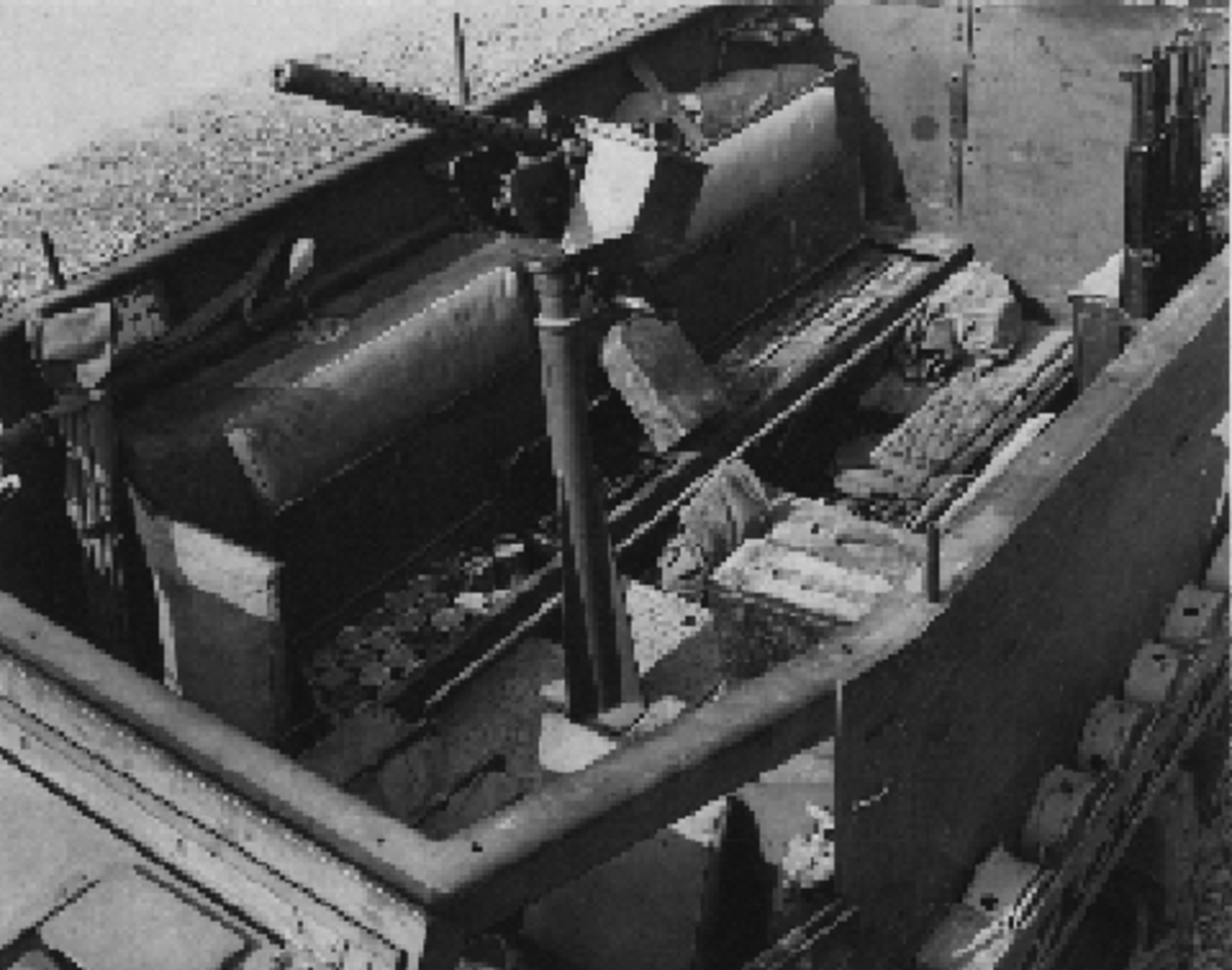 The interior of the M3 was very different from that of the M2 and was arranged to perform its role as a personnel carrier. Behind the troop seats, just behind the driver's compartment, can be seen the twin fuel tanks. The area beneath the seat bottoms formed stowage bins.
