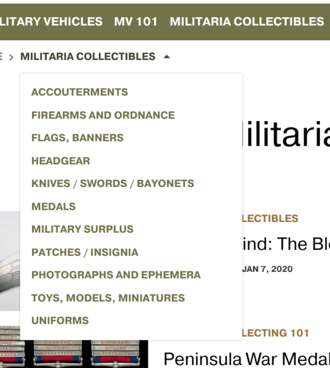 Militaria by CATEGORY OF RELIC